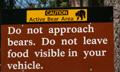 sequoia bear warning sign: