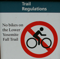 sign no bikes on lower Yose fall trail: