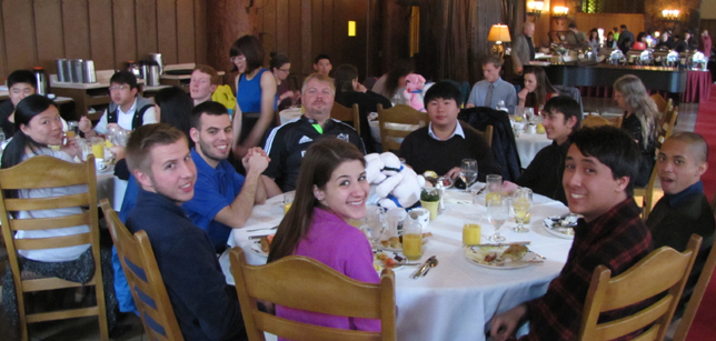 snow camp 2015 2 tables at brunch: Ahwahnee brunch 2 tables of people