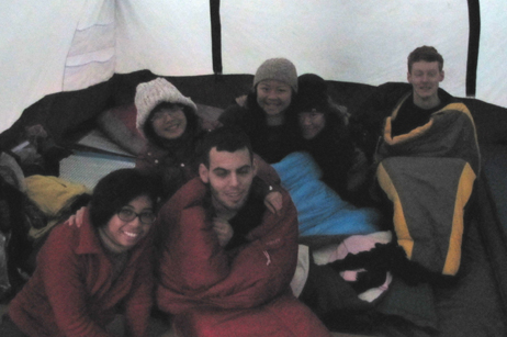 snow camp 2015 7 people: people in a tent first thing in the morning