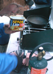 spam lite: cooking spam lite on winter trip 2009