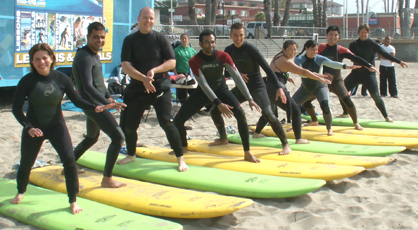 surfing practice on beach june 2008: