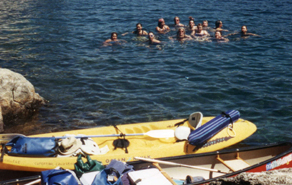 swimmers in cove at Fannette Island: