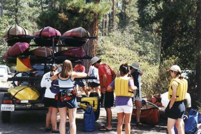 kayak trailer at Tahoe: fully loaded kayak trailer at Lake Tahoe
