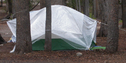 tent with plastic sheet: