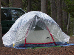 tent with plastic sheeting: