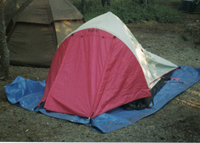 tent with tarp under: