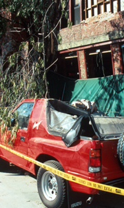 unreinforced brick masonry vs truck Los Gatos USGS photo: