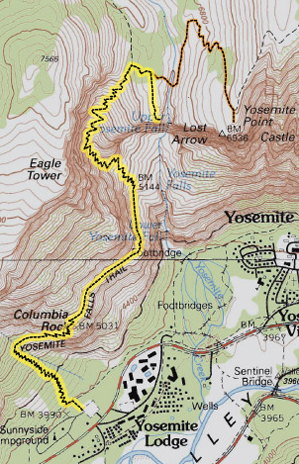 map of Yosemite falls trail: Yosemite topographical map showing the trail to the top of upper Yosemite falls. NPS photo.