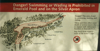 warning above Vernal Fall: