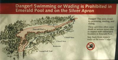 warning above Vernal Fall: