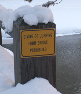 sign diving from bridge winter: