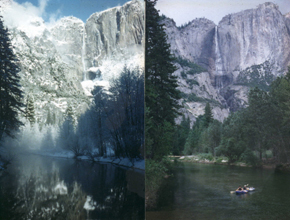Yosemite Falls in summer & winter: Two photos side by side of the same stretch of river with Yosemite Falls in the background, a winter one with bare tree branches and lots of snow and a summer one with lots of leaves on the trees and shrubs and club people floating down the river in an inflatable kayak.