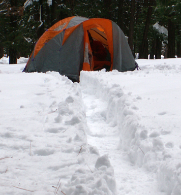 yosemite snow camp 2008 path to tent: