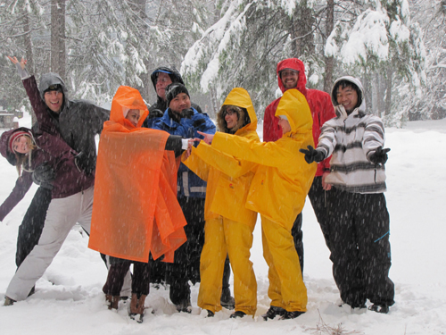 2011 winter group photo at campsite.: group photo at snowcovered campsite