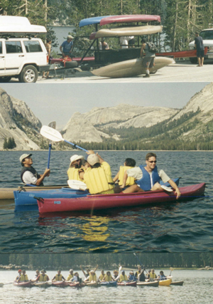 Tuolumne kayakers: two photos of kayakers on Tenaya Lake and one of kayaks being unloaded from the trailer
