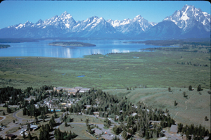 aerial photo of Jackson Lake Lodge: