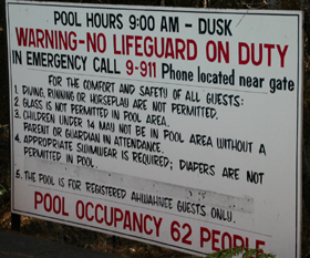 Ahwahnee pool sign: