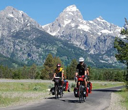 Bikes_pathway#6_2010 nps photo: two cyclists on pathway with Teton mountains in background