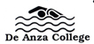 De Anza College swimming logo: the words De Anza College below a line drawing of water waves and a person swimming
