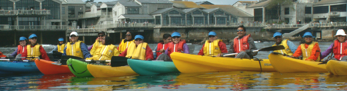 De Anza Outdoor Club ocean kayak group at aquarium: