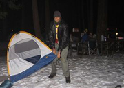 Deepak pitching tent group campfire in background by Pavan Singh: