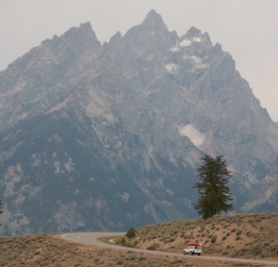 Jeep and tetons: