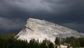 Lembert Dome and black clouds: