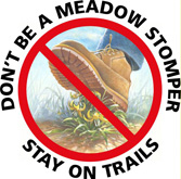 NPS Meadow_Stomper_Graphic-small: drawing of a boot stepping on some grasses with the words Don't be a meadow stomper