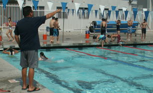 Saratoga High school EAP practice: Saratoga High school swim class exits pool during Emergency Action Plan practice