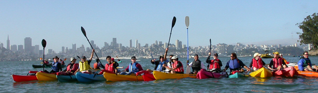 Sharkfest paddlers group at Alcatraz: