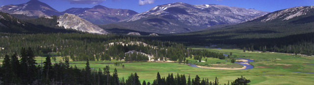 TuolomneMeadows by Yosemite assn: long view of Tuolomne Meadows and surrounding mountains by the Yosemite association