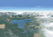 YELLview130 pixels: park service aerial view of part of yellowstone national park with partial cloud cover