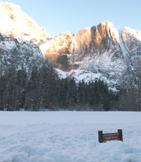Yosemite Falls and snowy meadow feb 4 2008: