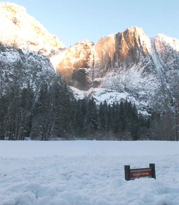 Yosemite Falls and snowy meadow feb 2008: