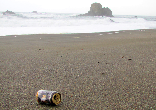 beer can on beach: slightly crumpled beer can in foreground, waves breaking in background