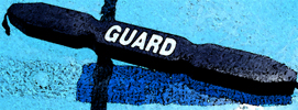 blue guard tube plus watercolor effect.: blue lifeguard rescue tube using photoshop watercolor effect