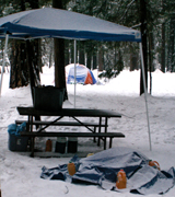 cover fire pit from snow:
