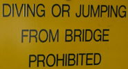 diving or jumping from bridge prohibited: