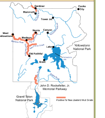 NPS map extent of mud snails invasion 2010: map shows rivers with mud snails invasion