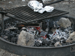 fire with coals for cooking: