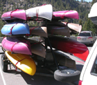 fully loaded kayak trailer: