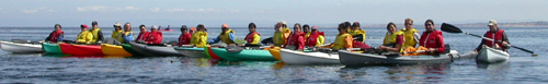 De Anza College Outdoor Club ocean kayak group photo on water may 2005: