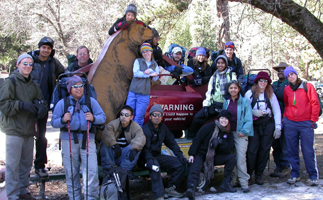 hikers pose with bear:
