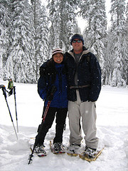 Monica Colmenares and Richard Neimrec on snoeshoe walk 2008: