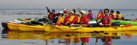 ocean kayak group from side: