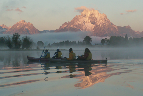 paddlers and reflection sunrise 56o pixls 2005: