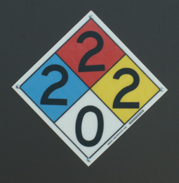 pool chemical sign at De Anza College: