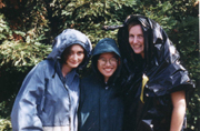 rain gear: models show real rain jackets and plastic garbage bag gear