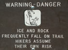 rockfall warning sign Yose falls trail: